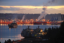Industrial harbor sunrise